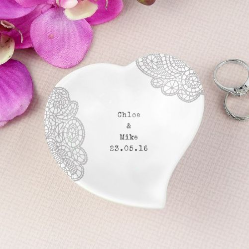 Personalised Dainty Lace Ceramic Ring Dish